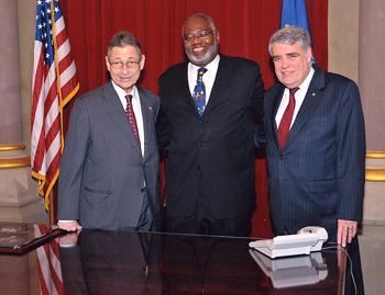 From left, Assembly Speaker Sheldon Silver, Joseph Bowman, and Assemblyman John J. McEneny