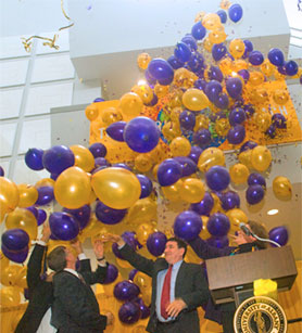 Balloons are released as UAlbany celebrates its new theme,