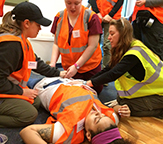 CEHC students participate in disaster simulation.