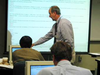 UAlbany CTG web application developer Jim Costello teaches an XML class to state agency workers.