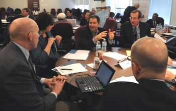 Participants hold a roundtable discussion at the UAlbany CTG-NASCIO technology workshop.