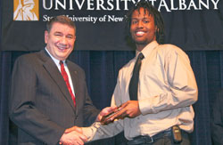 Interim President George M. Philip with Rashaun Allen, a Spellman Award recipient