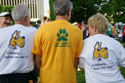 UAlbany race participants sport Great Danes logo on their T-shirts.
