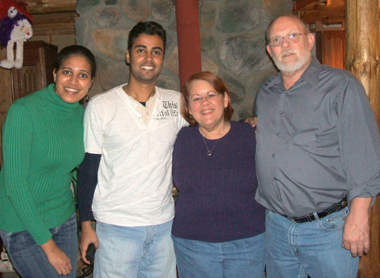 UAlbany students Dhanushki Samaranayake and Chinthaka Jayawardena with staff member Jennifer Watson and her husband