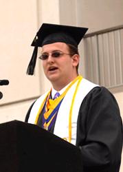 Nick Fahrenkopf in cap and gown.
