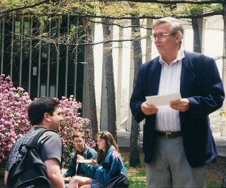 Physics Chair Walter Gibson with students