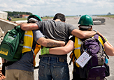 Students work together to aid acting victim during NY Hope Disaster Response Excercise.