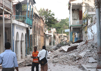 Damaged buildings in Jacmel, Haiti.