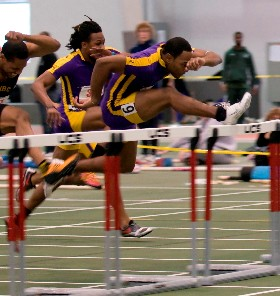 UAlbany Indoor Track hurdler Jean Juste takes the lead