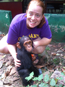Associate Professor Mary Katherine Gonder, Department of Biological Sciences and chimp