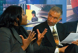 Mary Graham speaking with Alain Kaloyeros