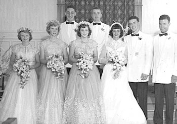 UAlbany alum Harvey Milk '51 as a groomsman (left) at the wedding of Joseph Zanchelli, BA '49, MA �50, and his wife Joyce (Leavitt) Zanchelli '52