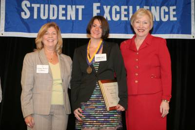 Kimberly Moonan accepts Chancellor's award