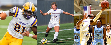 3 UAlbany players in action in football, women's soccer and men's basketball