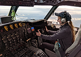 DAES student Emily Paltz flies Kermit – the NOAA42 P-3 Hurricane Hunter – during the OTREC field campaign.