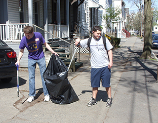 Students cleaning up