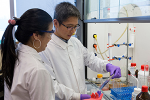 Chemist Jia Sheng works in the lab with a Ph.D. student