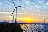 Photo of solar and wind renewable generation.