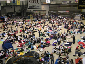 Last year's Relay filled the SEFCU Arena with walkers and their tents.