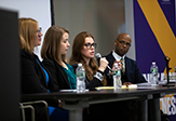 Photo of panelists at human trafficking discussion on campus.