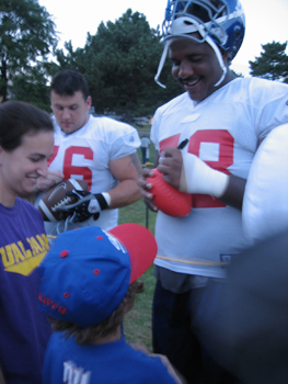 Child at Giants Training Camp, held at UAlbany