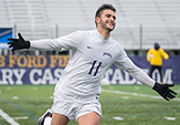 Junior Afonso Pinheiro celebrates game-clinching goal against Boston College.