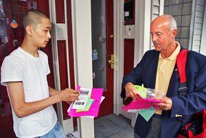 Tom Gebhardt hands out safety flyers