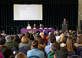 School of Public Health Dean David Holtgrave addresses hundreds of campus community members at Wednesday's town hall.