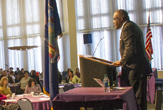 President Robert Jones address UAlbany crowd in Campus Center Ballroom