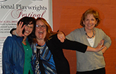 Sheila Curran Bernard with playwrights Shari Frost and Charlene A. Donaghy, at the Warner International Playwrights Festival, Torrington, Ct.