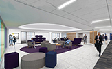 "Rendering of interior west lobby/study lounge, ""Building 27."""