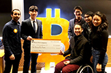 Team photo of Coconut after receiving an award at the MIT Bitcoin Expo.