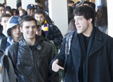 Students chat between classes at UAlbany