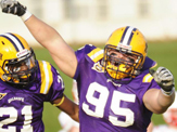 UAlbany football players Leon Saddler, left, and Zach Gallo