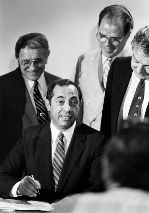 Gov. Mario Cuomo signs the Writers Institute Into Existence