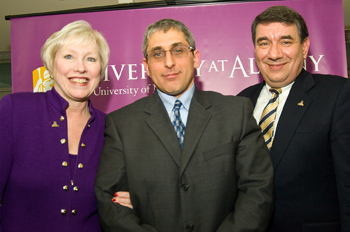 SUNY Chancellor Nancy Zimpher, School of Business Dean Donald Siegel, Interim President George Philip