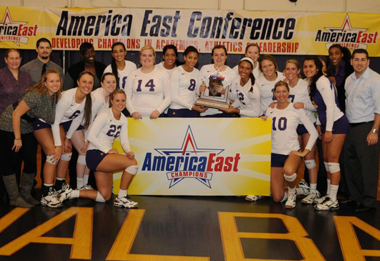UAlbany volleyball team celebrates its sixth championship in the last eight years