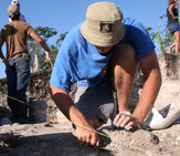 UAlbany student digs at the San Estevan Project site in Northern Belize