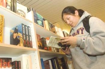 UAlbany junior Jamie Toeg visits the bookstore.