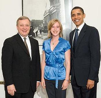 Sen. Dick Durbin, UAlbany School of Public Health student Dr. Sara Brenner, President Barack Obama