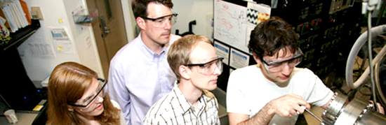 CNSE Students and professors work on a nanotechnology device