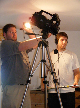 From left, Class of 2009 graduates Fred Bonheim and Eran Carmelli at work on the film.