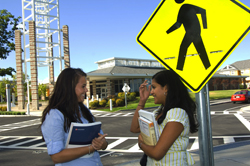 UAlbany students at the Empire Commons crosswalk.
