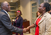 UAlbany President Robert Jones greets a Kenyan government delegation