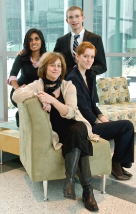 From left, standing, Nalini Kalanadhabhatta, Cameron Waldman and from left seated, faculty adviser Bonnie Steinbock, and Vala Thoroddsdottir