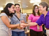 UAlbany students congratulated by Dean of Undergraduate Studies Sue Faerman