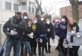 Students and staff on the Interfaith Center volunteer trip to Rockaway, Queens.