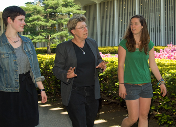 Sarah Whipple, Jil Hanifan, and Lauren Nye on UAlbany's uptown campus