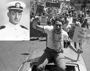 Harvey Milk at a rally and in the Navy