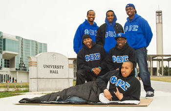Fraternity brothers from Mu Iota Chapter of Phi Beta Sigma Fraternity, Inc.